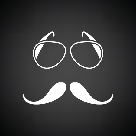 Glasses and mustache icon. Black background with white. Vector illustration. Illustration