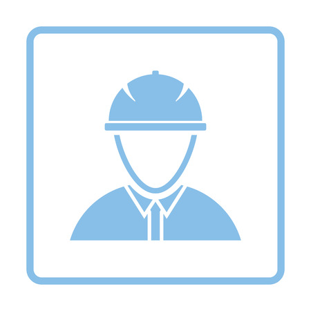 Icon of construction worker head in helmet. Blue frame design. Vector illustration.