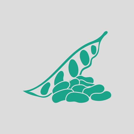 ejotes: icono de frijoles. Fondo gris con verde. Ilustración del vector. Vectores