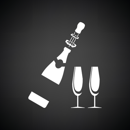 clink: Party champagne and glass icon. Black background with white. Vector illustration. Illustration