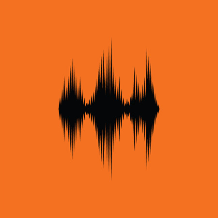 Music equalizer icon. Orange background with black. Vector illustration. Illustration