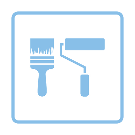 blue paintroller: Icon of construction paint brushes. Blue frame design. Vector illustration. Illustration