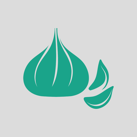 Garlic  icon. Gray background with green. Vector illustration.