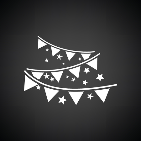 white party: Party garland icon. Black background with white. Vector illustration.