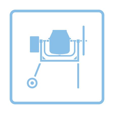 Icon of Concrete mixer. Blue frame design. Vector illustration.