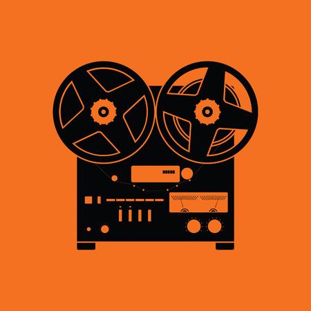 tape recorder: Reel tape recorder icon. Orange background with black. Vector illustration.