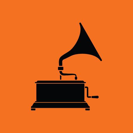 restored: Gramophone icon. Orange background with black. Vector illustration.