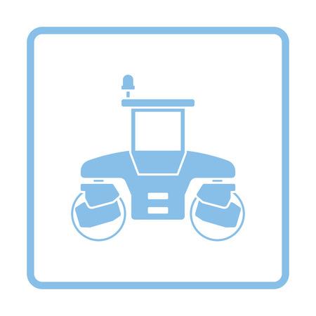steamroller: Icon of road roller. Blue frame design. Vector illustration.