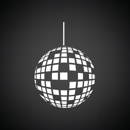white party: Party disco sphere icon. Black background with white. Vector illustration.
