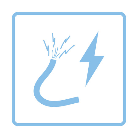 electricity providers: Icon of Wire . Blue frame design. Vector illustration.