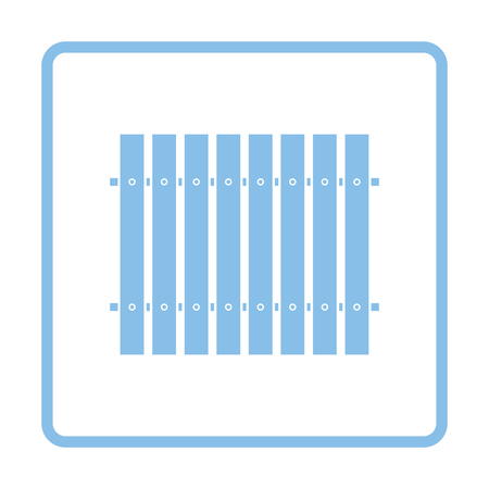 paling: Icon of Construction fence . Blue frame design. Vector illustration.