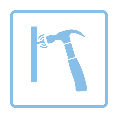 tools icon: Icon of hammer beat to nail. Blue frame design. Vector illustration. Illustration