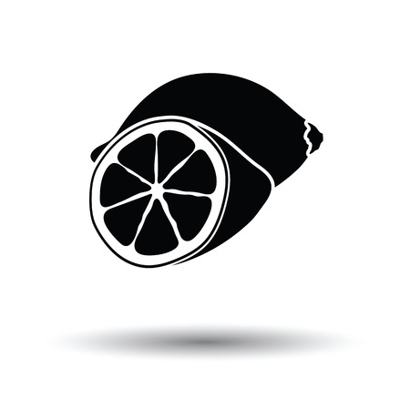 rind: Lemon icon. White background with shadow design. Vector illustration.