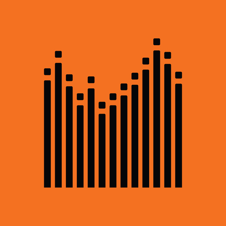 Graphic equalizer icon. Orange background with black. Vector illustration.