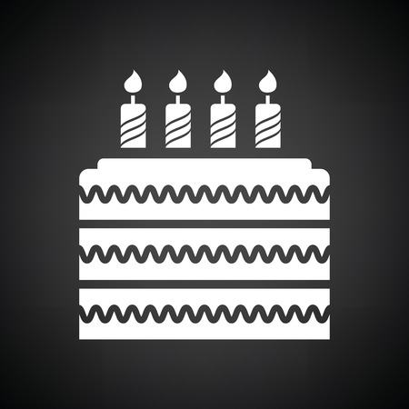 cake background: Party cake icon. Black background with white. Vector illustration.