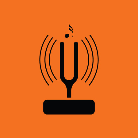 Tuning fork icon. Orange background with black. Vector illustration.