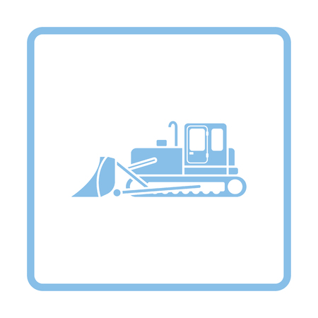 wheeled tractor: Icon of Construction bulldozer. Blue frame design. Vector illustration.