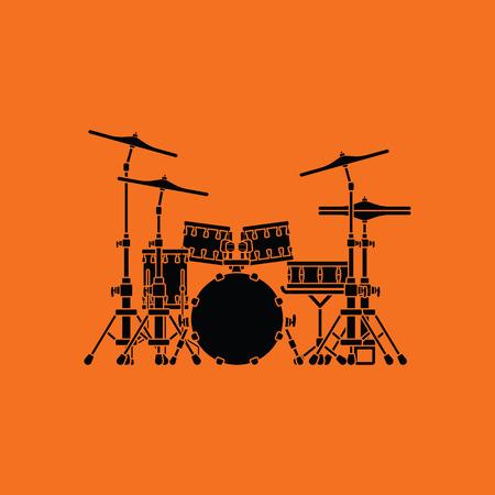 Drum set icon. Orange background with black. Vector illustration. Illustration