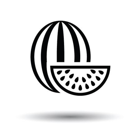 summer diet: Watermelon icon. White background with shadow design. Vector illustration.