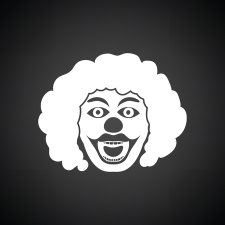 black wigs: Party clown face icon. Black background with white. Vector illustration.
