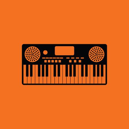 Music synthesizer icon. Orange background with black. Vector illustration. Ilustração