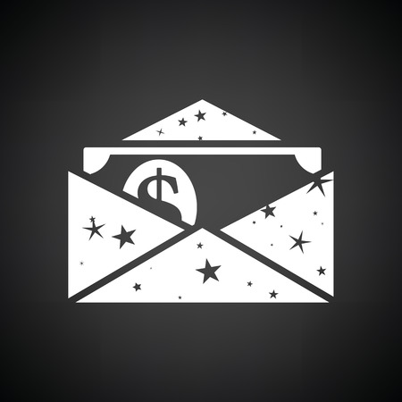 Birthday gift envelop icon with money  . Black background with white. Vector illustration.