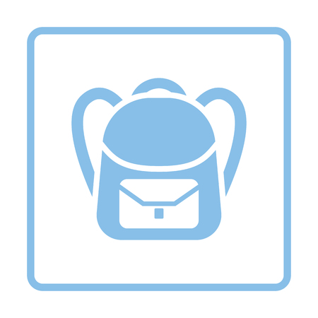 rucksack: School rucksack  icon. Blue frame design. Vector illustration.