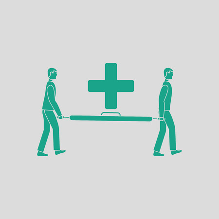 going green: Soccer medical staff carrying stretcher icon. Gray background with green. Vector illustration. Illustration