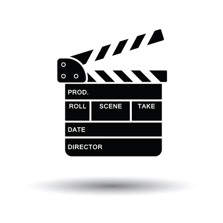 directors cut: Clapperboard icon. White background with shadow design. Vector illustration.