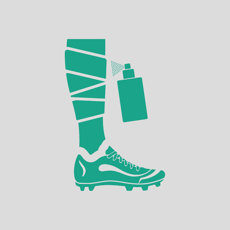 aerosol: Soccer bandaged leg with aerosol anesthetic icon. Gray background with green. Vector illustration.