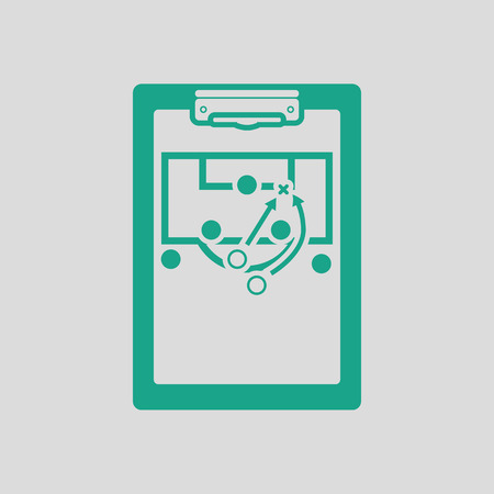 soccer coach: Soccer coach tablet with scheme of game icon. Gray background with green. Vector illustration.