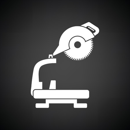 handtool: Circular end saw icon. Black background with white. Vector illustration.