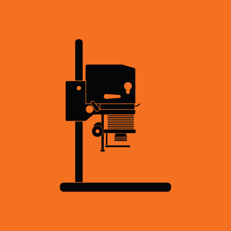 Icon of photo enlarger. Orange background with black. Vector illustration.