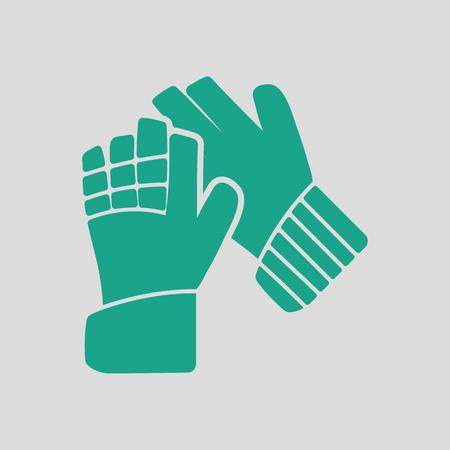 portero de futbol: Soccer goalkeeper gloves icon. Gray background with green. Vector illustration. Vectores