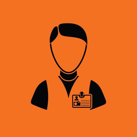 Icon of photographer. Orange background with black. Vector illustration.