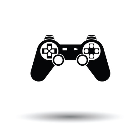 gamepad: Gamepad  icon. White background with shadow design. Vector illustration.