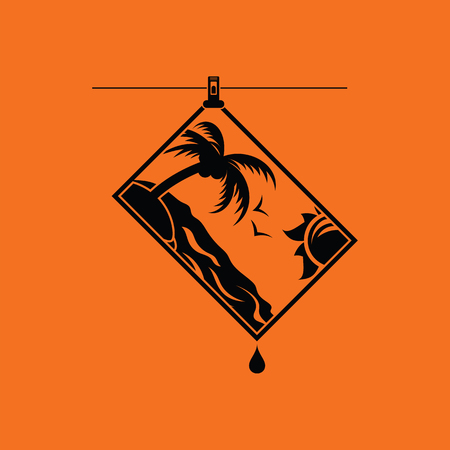 Icon of photograph drying on rope. Orange background with black. Vector illustration. Illustration
