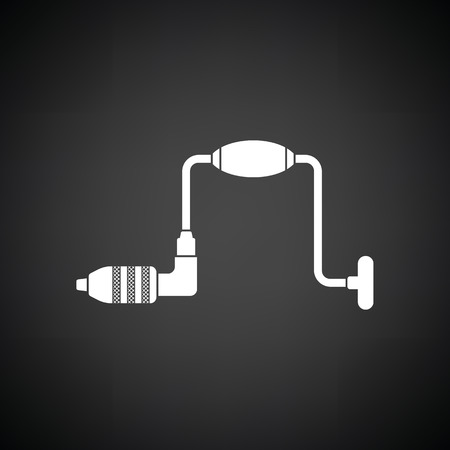 auger: Auger icon. Black background with white. Vector illustration. Illustration