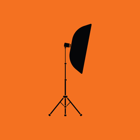 softbox: Icon of softbox light. Orange background with black. Vector illustration.