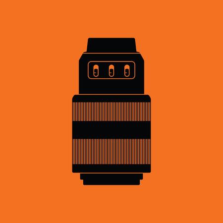 stabilizer: Icon of photo camera zoom lens. Orange background with black. Vector illustration.