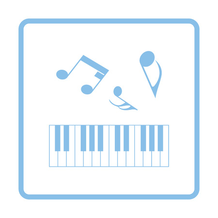 octaves: Piano keyboard icon. Blue frame design. Vector illustration.