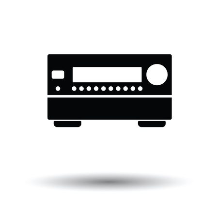 home theater: Home theater receiver icon. White background with shadow design. Vector illustration. Illustration
