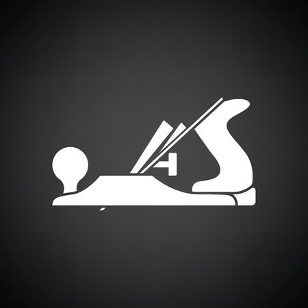 Jack-plane tool icon. Black background with white. Vector illustration. Illustration