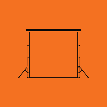 Icon of studio photo background. Orange background with black. Vector illustration.