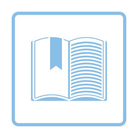 blue book: Open book with bookmark icon. Blue frame design. Vector illustration. Illustration