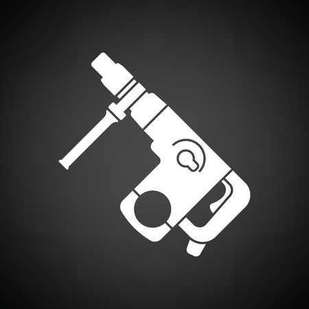 Electric perforator icon. Black background with white. Vector illustration.