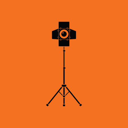 film title: Icon of curtain light. Orange background with black. Vector illustration.