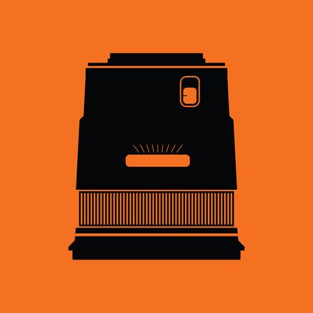 stabilizer: Icon of photo camera wide lens. Orange background with black. Vector illustration.
