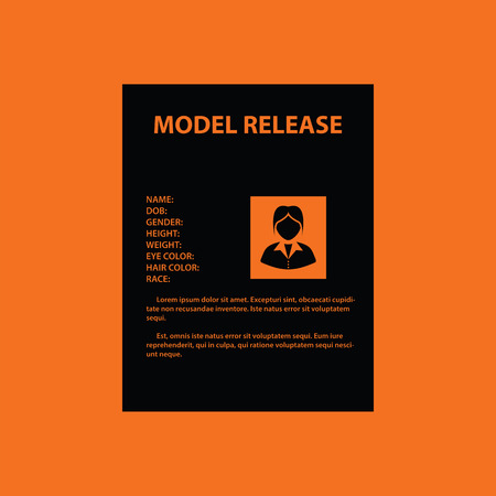 model release: Icon of model release document. Orange background with black. Vector illustration. Illustration
