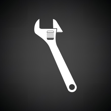adjustable: Adjustable wrench  icon. Black background with white. Vector illustration.